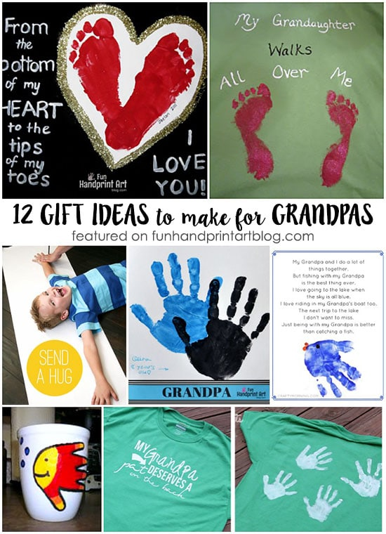 Looking for a Father's Day or Grandparents Day gift idea? Here are 12 super sweet Crafts to make Grandpa using handprint and footprints.