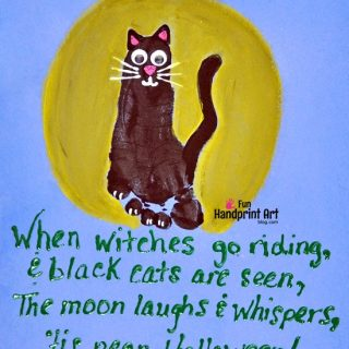 Footprint Black Cat Craft & Cute Halloween Poem