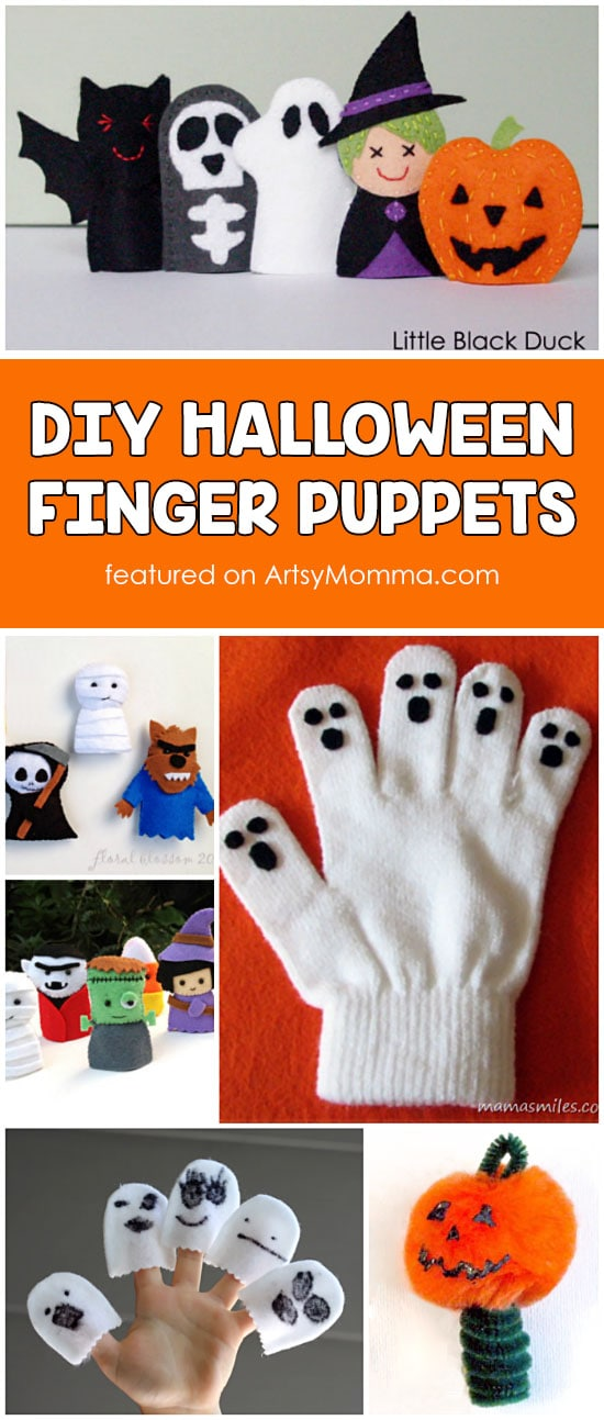 DIY Halloween Finger Puppets for Younger Kids including several patterns.