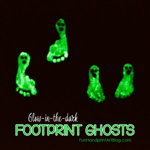 Glow-in-the-dark Footprint Ghosts | Halloween Craft for Kids