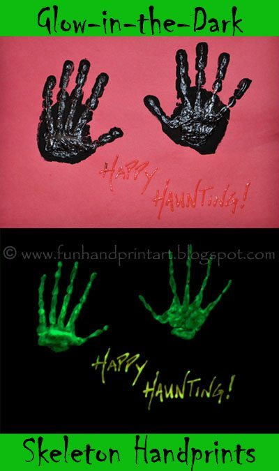Glow-in-the-Dark Skeleton Handprint Art for Halloween