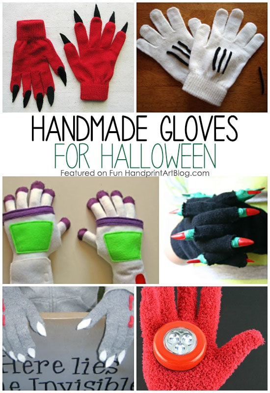 Hand-y Homemade Halloween Gloves are the perfect addition to a costume for kids. Visit the blog to see the full list of DIY Halloween Gloves.