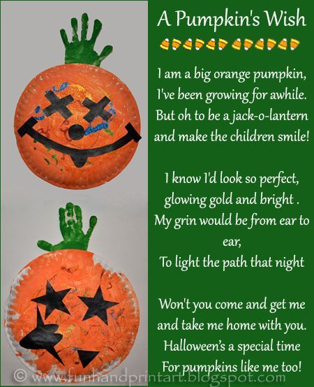 Paper Plate Pumpkin Handprint Craft