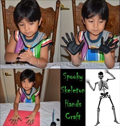 Skeleton Hands Halloween Craft for kids