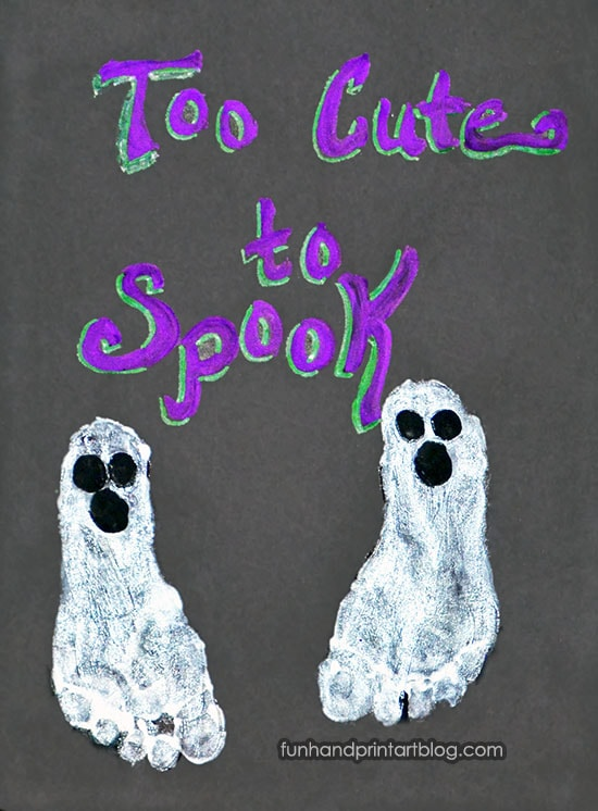Ghost Footprints with Halloween Saying: Too Cute to Spook
