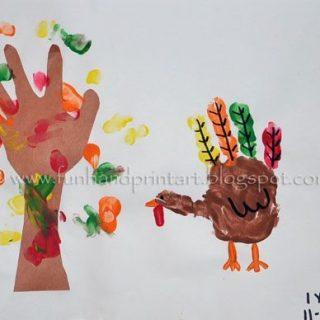 Handprint Turkey & Fall Tree Thanksgiving Craft for kids