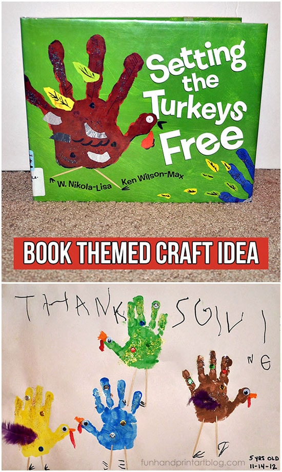 Make colorful hand printed turkeys to go along with the book, Setting the Turkeys Free.
