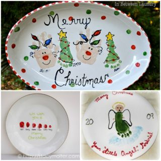 DIY Decorative Christmas Plate Design made with handprints & footprints, perfect for gift giving!