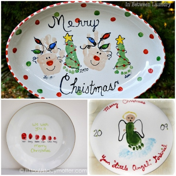 DIY Decorative Christmas Plate Design made with handprints u0026 footprints perfect for gift giving! & Handprint and Footprint Christmas Plate Designs - Fun Handprint Art