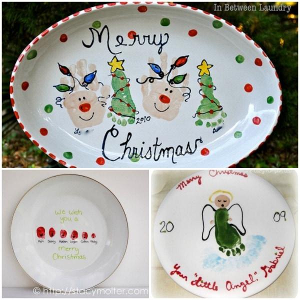 Handprint footprint christmas plate designs fun for Handprint ceramic plate ideas