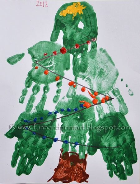 Handprint Christmas Tree Preschool Craft - Fun Handprint Art