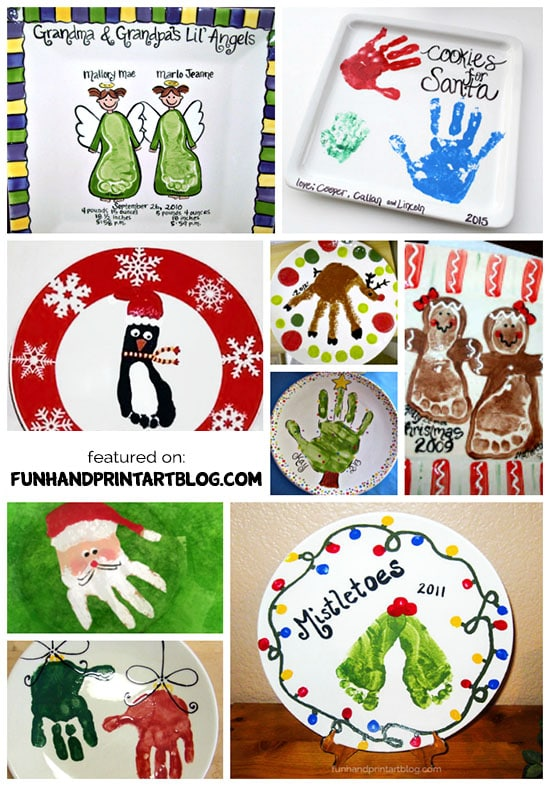Ideas for decorating decorative Christmas Plates using handprint & footprints!