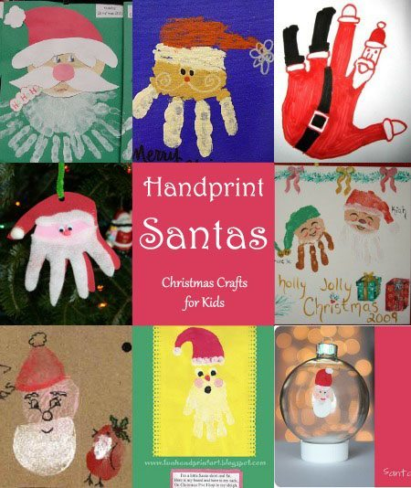 Handprint Santa Crafts for kids to make this Christmas.