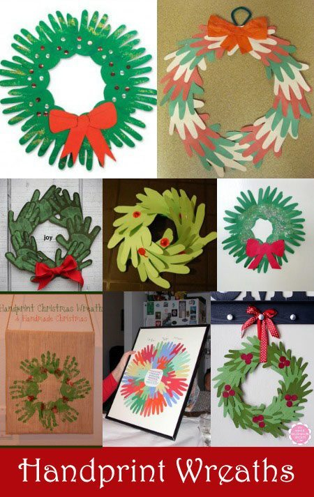 Collection of festive Handprint Wreath Craft Ideas to make with kids for Christmas