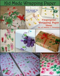 Handprint Fingerprint Wrapping Paper Craft for Christmas