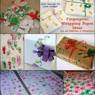 Handprint Fingerprint Wrapping Paper Craft for Christmas