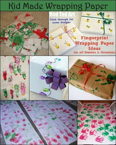 Kid-made Wrapping Paper for Christmas using Handprints