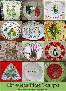 Handprint and Footprint Christmas Plate Keepsakes