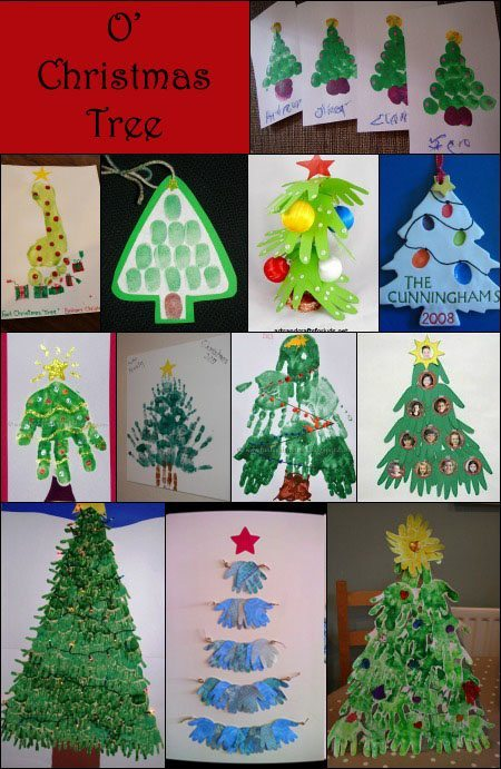Handprint, Footprint, & FIngerprint Christmas Tree Crafts for Kids
