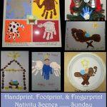 Handprint Nativity Scenes, Footprint Manger Crafts, Fingerprint Baby Jesus + more {Sunday School Ideas}