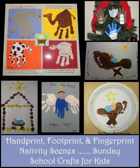 Handprint Nativity, Footprint Manger, Baby Jesus Crafts, & more!