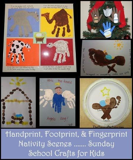 Handprint nativity scenes footprint manger crafts fingerprint baby