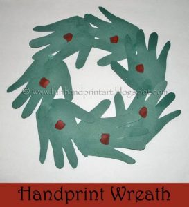 Paper Hands Wreath Craft for Christmas