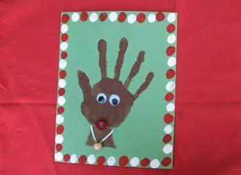 Handprint footprint reindeer crafts for kids fun for Christmas card craft ideas
