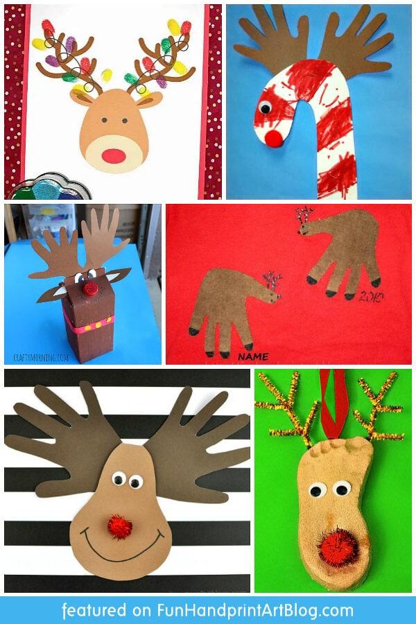 Reindeer Crafts for Christmas made with handprints and footprints