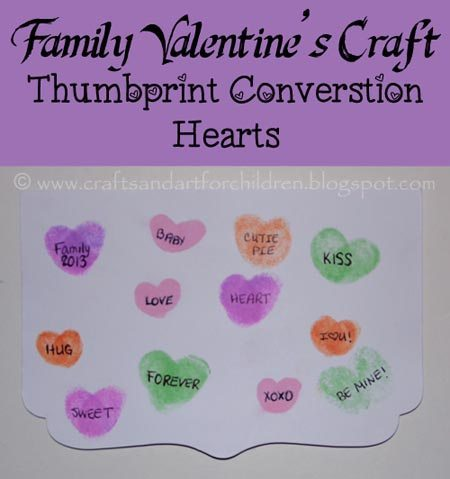 Family Thumbprint Conversation Hearts Craft Idea For Valentine's Day