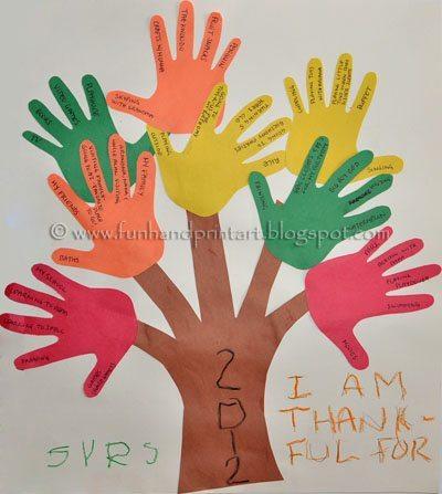 Handprint Tree, Tree of Thanks, Thanksgiving Kids Craft