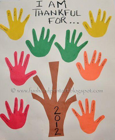 Thankful Hand Tree, Toddler Thanksgiving Handprint Craft