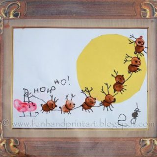 Footprint Sleigh & Thumbprint Santa Christmas Scenes