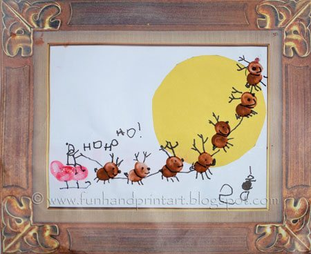 How to Create a Framed Thumbprint Reindeer and Sleigh Art Scene for Christmas Activity