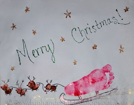 Footprint Sleigh Christmas Craft & Keepsake Art