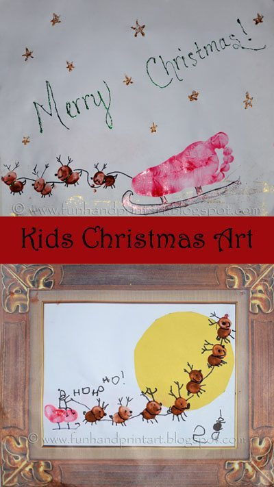 Easy Footprint Sleigh Craft and Thumbprint Santa & Reindeer Christmas Scenes
