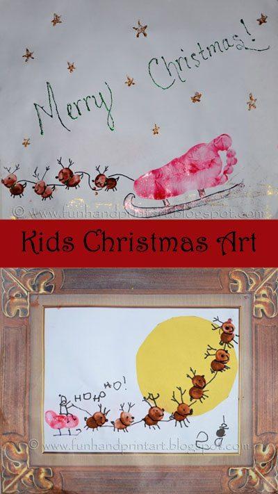 Kids CHristmas Craft: Footprint & Thumbprint Sleigh Art Projects