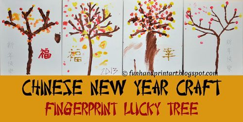 Chinese Lucky Tree fingerprint craft for the New Year