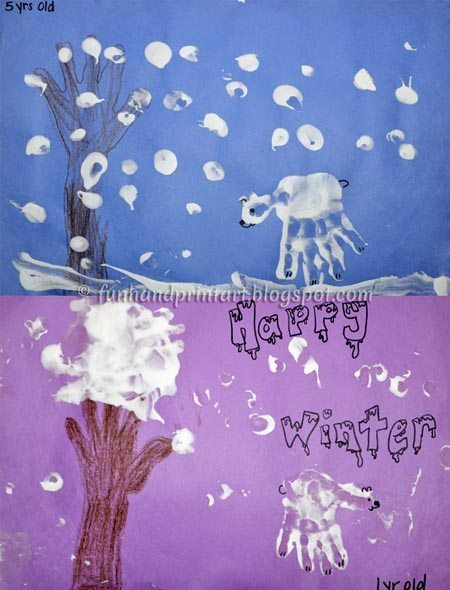 Puffy Paint Polar Bear Handprint Craft for Winter Theme