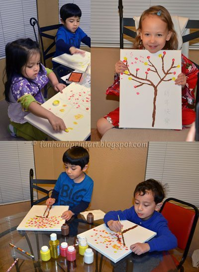 Making Fingerpint Lucky Trees for Chinese New Yea