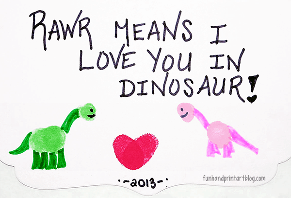 RAWR! Means I Love You in Dinosaur - Thumbprint Valentine's Day Card