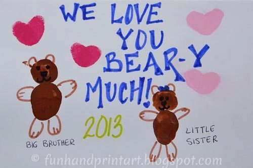 We Love You BAER-Y Much! Thumbprint Bear Card for Valentine's Day