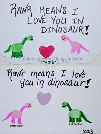 Thumbprint Dinosaur Valentines