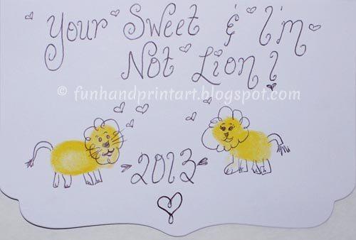 Thumbprint Lion Valentine's Day Card