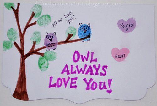 Thumbprint Owl Valentine's Day Card, kids craft