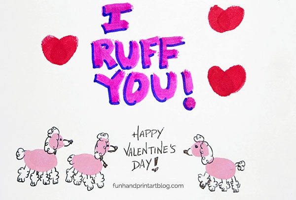 Thumbprint Poodles 'I Ruff You!' Valentine's Day Card