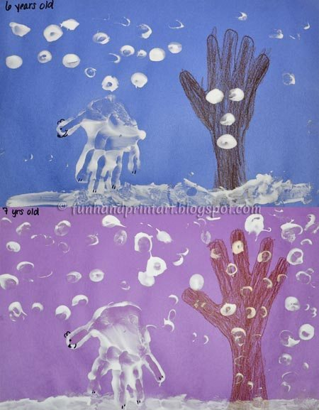 Puffy Paint Handprint Polar Bears - Winter Art Project for Kids