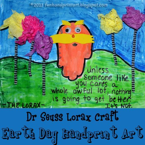 Dr Seuss Handprint Lorac Earth Day Craft