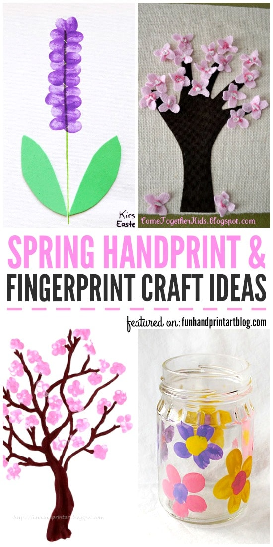 Spring Crafts made with Handprints & Fingerprints