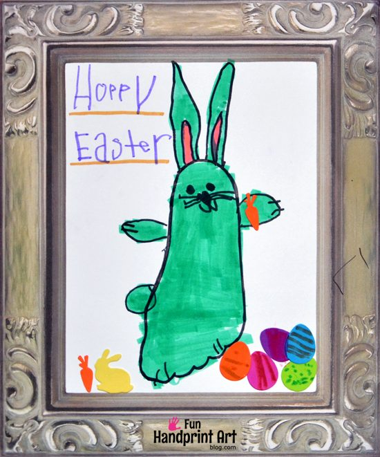 Traced Footprint Bunny Easter Art